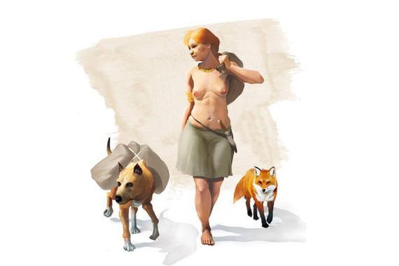 Художественное изображение женщины бронзового века с домашними собакой и лисой.  Credit  J. A. Peñas