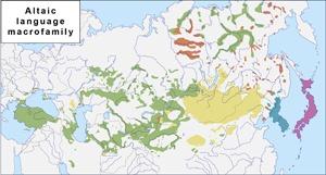 Современное распределение пяти языковых семей, входящих в алтайскую макросемью (Kassian et al., 2021)