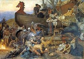 Похороны знатного руса. Картина Г. Семирадского по мотивам рассказа Ибн Фадлана о встрече с русами в 921 году.