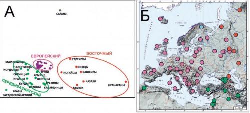 Рис. 3.2. Генетические взаимоотношения европейских и ближневосточных популяций по данным об изменчивости мтДНК.  А. График многомерного шкалирования (стресс=0,085). Популяции разных кластеров показаны разным цветом.  Б. Географическое положение изученных популяций. Цвет каждой популяции такой же, как на графике А.