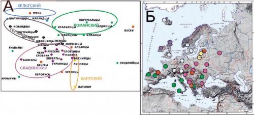 Рис. 3.4. Генетические взаимоотношения популяций, вошедших в «узко-европейский» кластер на рис. 3.3. А. График многомерного шкалирования (стресс=0,19). Популяции разных кластеров показаны разным цветом.  Б. Географическое положение изученных популяций. Цвет каждой популяции такой же, как на графике А.