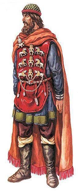 """Реконструкция З. Васиной костюма """"антского князя"""" с использованием находок Мартыновского клада."""