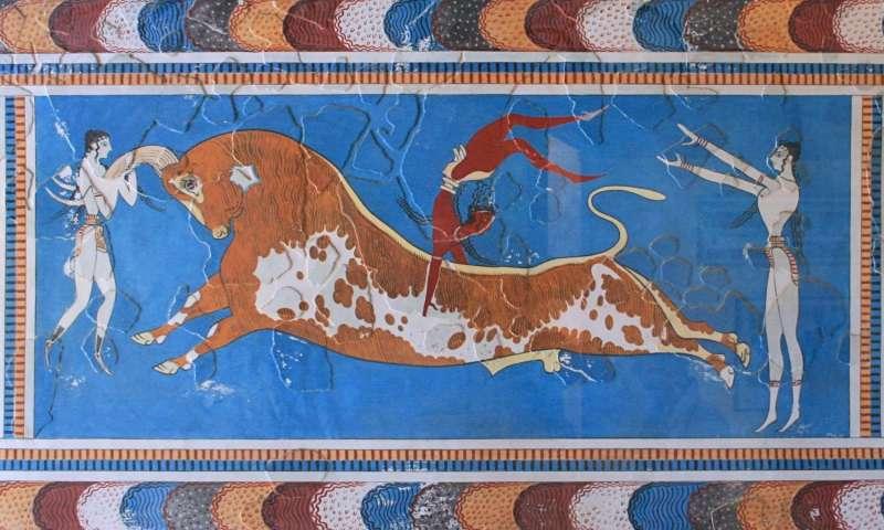 Фреска из Кносского дворца на Крите (оригинал в археологическом музее в Гераклионе, Крит).