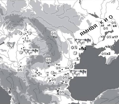 Рис. 65. Погребения с серебряными украшениями и повозками в Карпато-Подунавье.