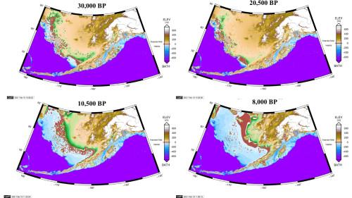 Реконструкция Берингии методом Glacial Isostatic Adjustment (GIA) в разные периоды (Dobson et al., 2921)