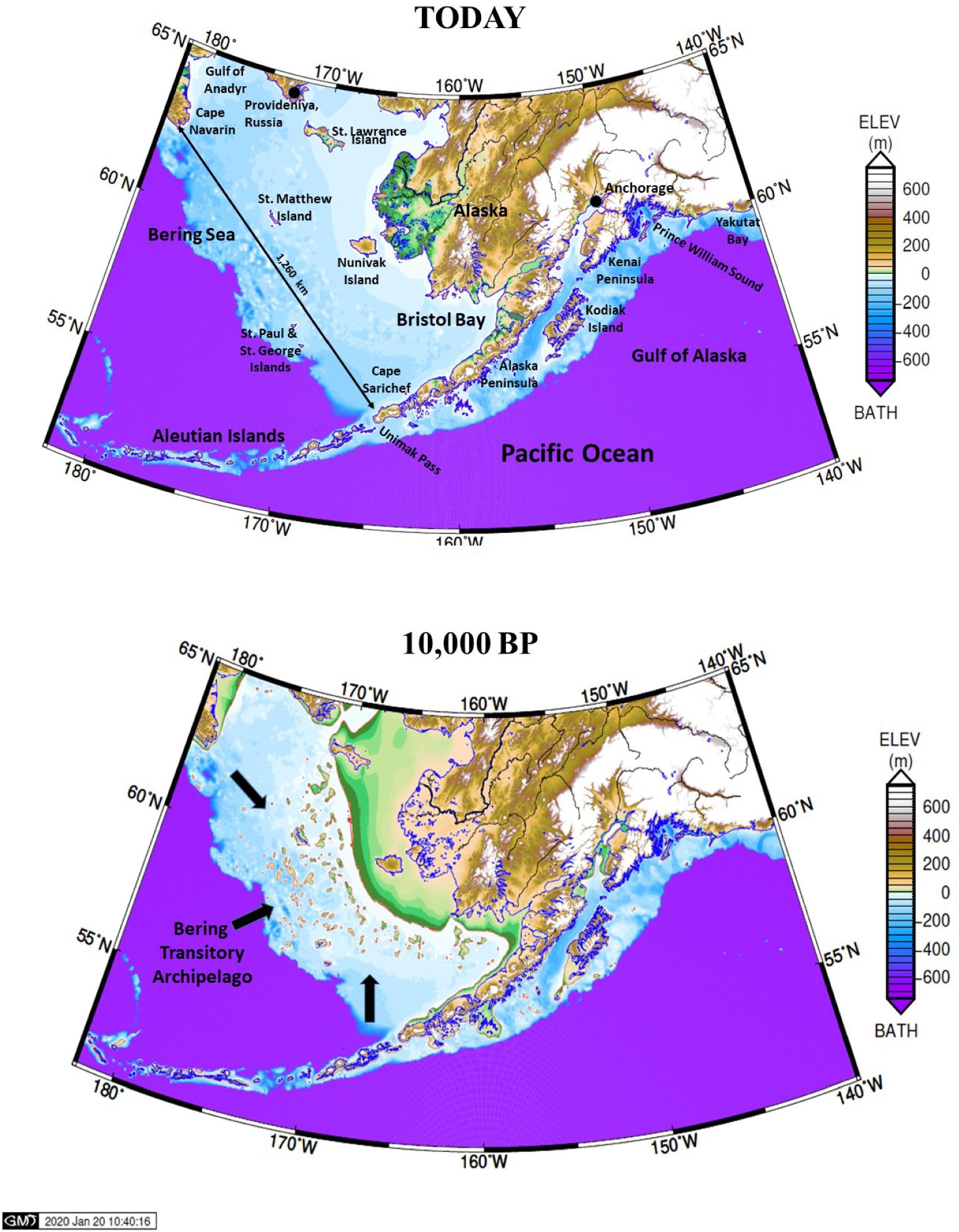 Реконструкция Берингии методом Glacial Isostatic Adjustment (GIA)  (Dobson et al., 2921)
