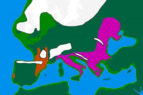 Область распространения солютрейской (красный цвет) и эпиграветтской культур ок. 20 тыс. лет назад (https://commons.wikimedia.org