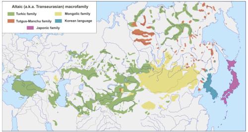Рисунок 1. Современная территория распространения языковых семей, которые включаются в алтайскую (трансевразийскую) макросемью.