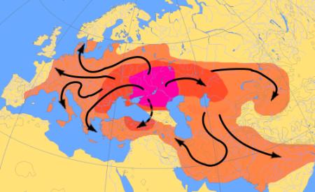 Схема миграций индоевропейцев в 4000-1000 гг. до н. э. в соответствии с «курганной гипотезой»