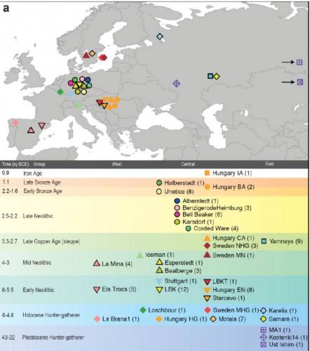 Географическое местоположение находок образцов древней ДНК (69 вновь исследованных образцов и 25 взятых из литературы) и их хронология от палеолита до железного века. Стрелочками обозначено то, что местоположения образцов МА1 (Мальта) и Усть-Ишим находятся восточнее, за пределами карты.  Iron Age – железный век, Late Bronze Age – поздний бронзовый век, Early Bronze Age - - ранний бронзовый век, Late Neolithic – поздний неолит, Late Copper Age – поздний медный век, Mid Neolithic – средний неолит, Early Neolithic – ранний неолит, Holocene Hunter-gatherer – охотники собиратели голоцена, Pleistocene Hunter-gatherer – охотники-собиратели эпохи плейстоцена.