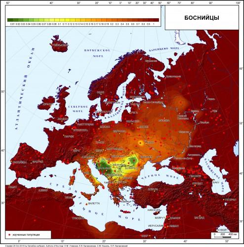 Рис. 5.39. Карта генетических расстояний от боснийцев (генетический ландшафт по гаплогруппам Y-хромосомы).
