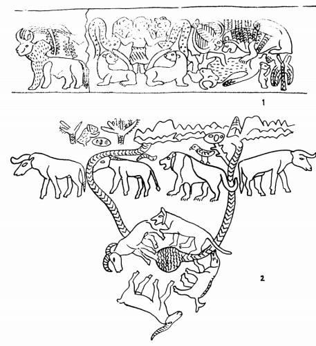 Рис. 70. Западные семиты на Северном Кавказе Аналогии майкопской композиции на 1-ом сосуде, (2) в памятниках РД П/РД III Месопотамии (1)