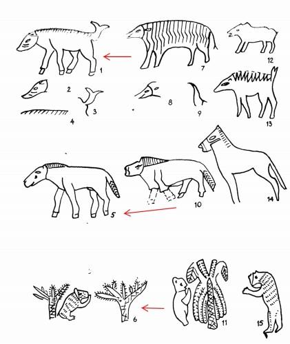 Рис. 67. Западные семиты на Северном Кавказе «Кабан», «лошадь», «медведь» в искусстве Майкопа (1—6) и РД III (7—15)