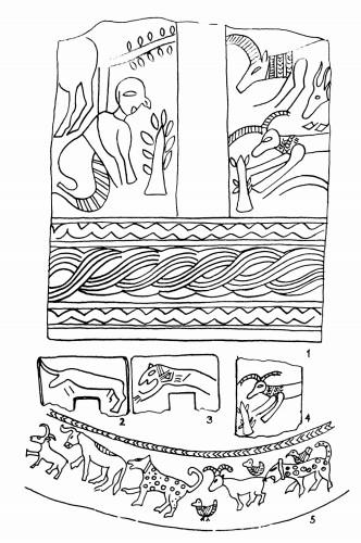 Рис. 69. Западные семиты на Северном Кавказе Аналогии майкопской композиции на 2-ом сосуде (5) в памятниках РД III Месопотамии (1—4)