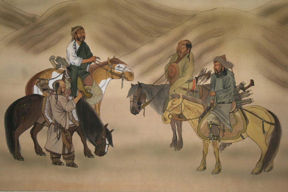 Древние монгольские конники. Изображение с сайта http://www.mongolnow.com/drevnie-mongolskie-konniki-u-beregov-kamchatki/