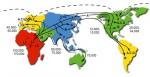 Миграции, прослеженные по мтДНК.  Источник mitomap.org