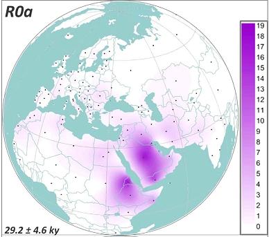 Карта распределения митохондриальной гаплогруппы R0a